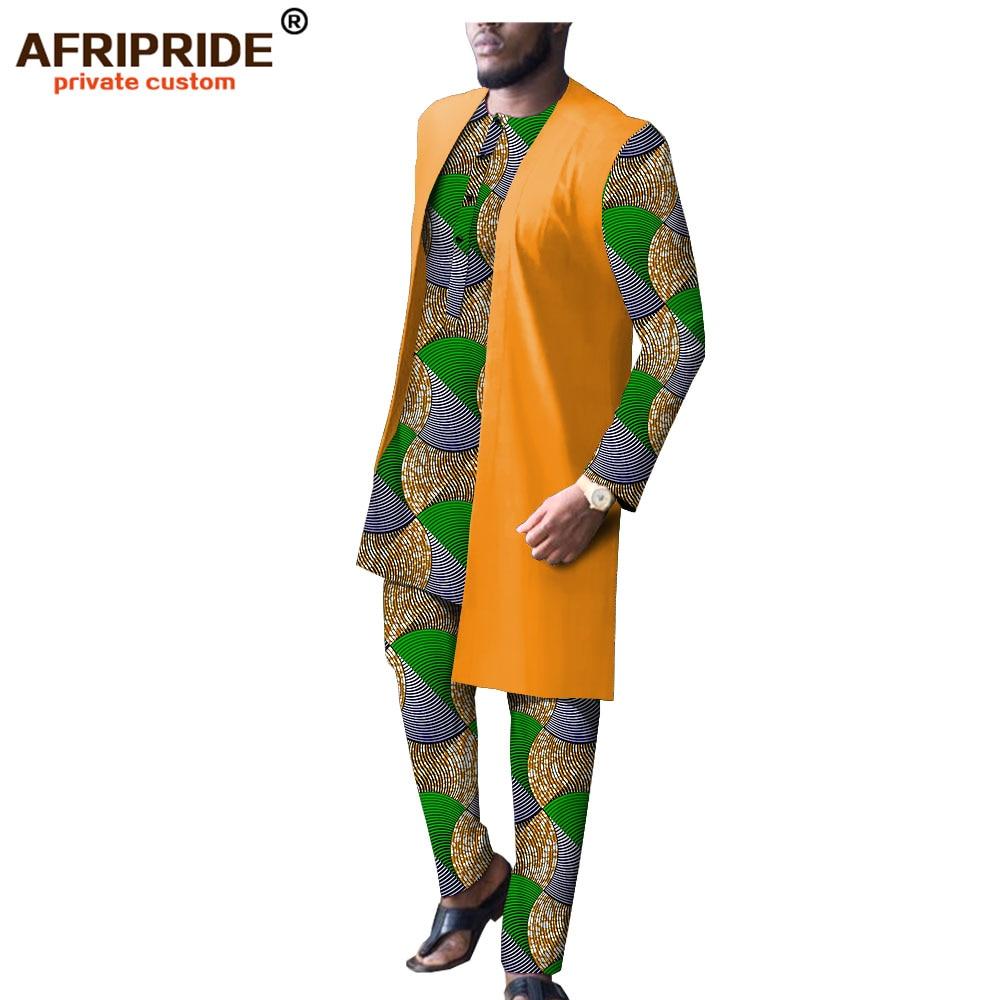 Дашики Мужская африканская одежда Длинные куртки принт рубашки и брюки набор Повседневный Спортивный костюм восковой наряд Базен Riche A1916009B - 5