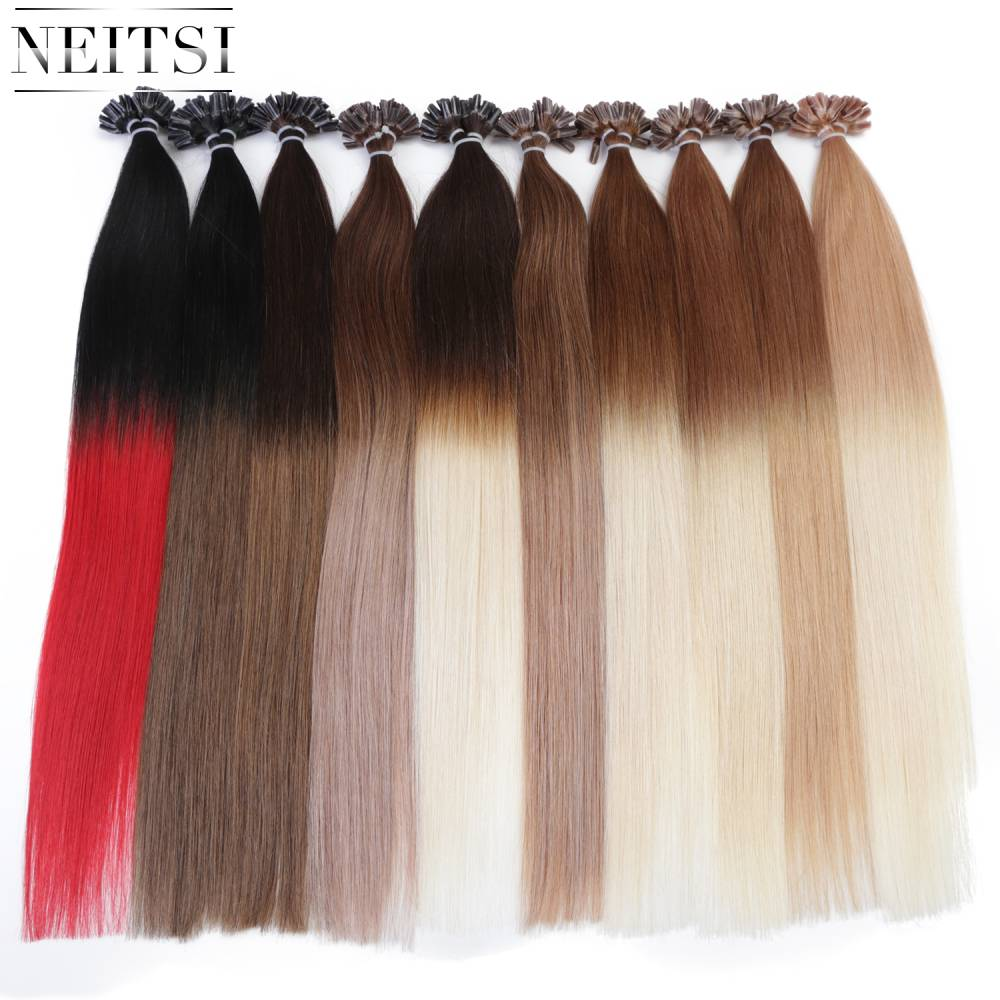 Neitsi Straight Ombre Keratin Human Fusion Hair Machine Made Remy Nail U Tip Capsule Human Hair Extension 20