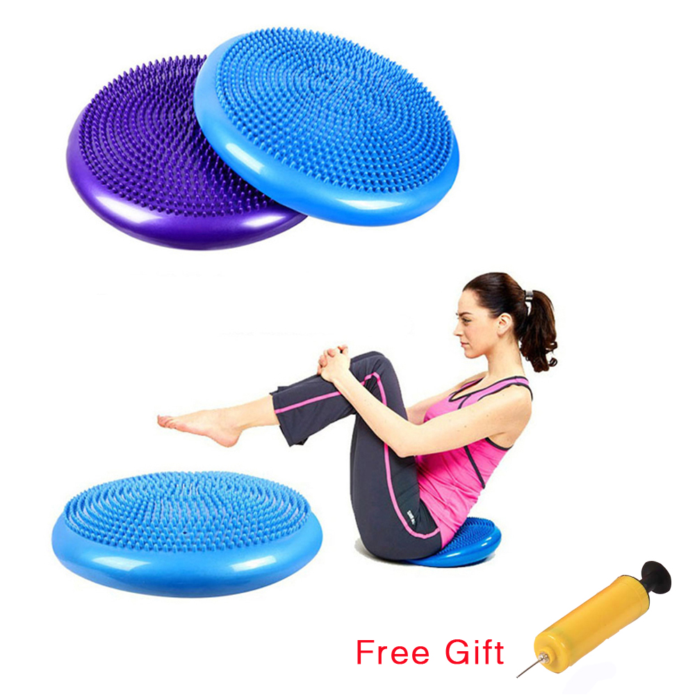 33cm Durable Inflatable Yoga Massage Ball Pad Universal Sports Gym Fitness Yoga Wobble Stability Balance Disc Cushion Free Pump
