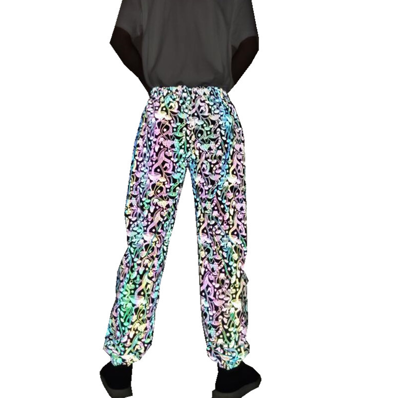 2020 Mushroom Reflective Pants Hip Hop Luminescent Hippants Men And Women In The Same Style Dazzle Color Reflective Pants