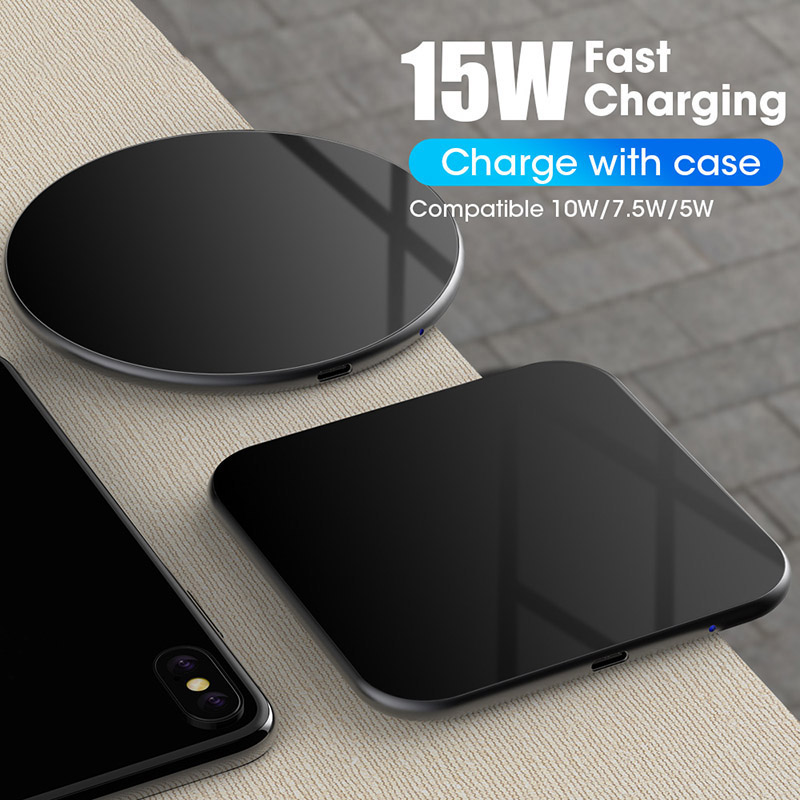 Wireless Charger Pad For iPhone X XS MAX XR 8 Plus Huawei P30 pro 15W Qi Fast Charging Wireless Charging in Wireless Chargers from Cellphones Telecommunications