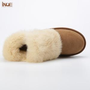 Image 3 - INOE Fashion Cow Suede Leather Real Rabbit Fur Woman Casual Winter Ankle Snow Boots for Women Short Winter Shoes Zipper Style