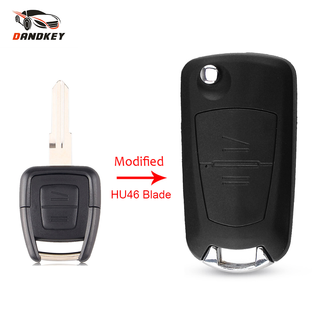 Dandkey 2 Button Modified Car Flip Remote Key Shell For Vauxhall Opel Astra Zafira Vectra Omega (HU100/HU46/HU43/YM28 ) Key Case