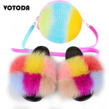 Slippers Round-Bags Rainbow-Handbag Jelly Furry Slides Fashion Shoes Real-Fluffy Woman