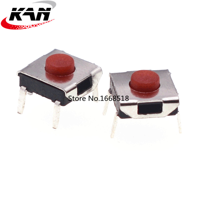50pcs tact switch micro switch 4 pin plug-in red button 6*6*2.5/2.7/3.1/3.4/3.7MM