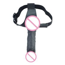 Wearable Realistic Dildo Adjustable Leather Belt with Suction Cup Butt Anal Plug Strap-on Penis Adult Sex Toy for Lesbian Women