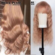 Perruque Body Wave naturelle péruvienne – Black Pearl, cheveux Remy, couleur blond, Orange, avec frange, entièrement faite Machine