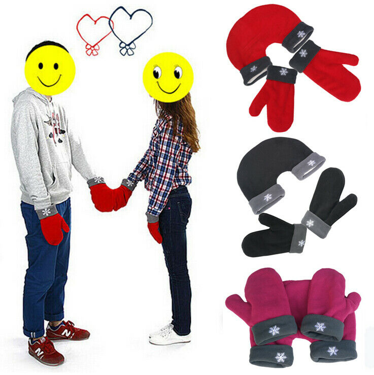 Hirigin Winter 3pcs Couple Gloves Lovers Mitten Conjoined Parent-Child Gloves Christmas Gifts