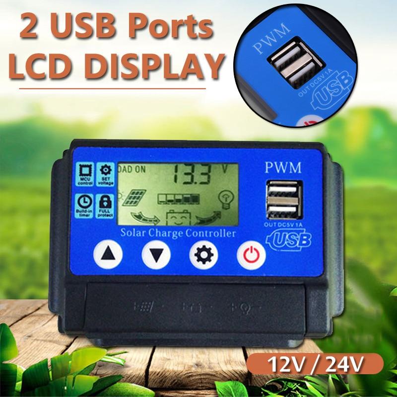 10a 20a 30a 40a 50a solar controlador de carga regulador 12 24v de identificacao automatica de