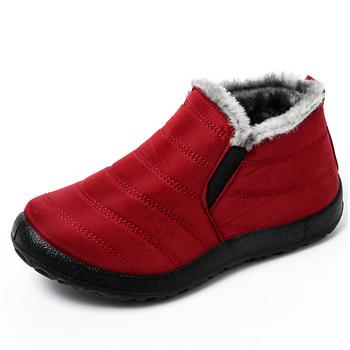 Buty damskie lekkie buty zimowe damskie kostki Botas Mujer Waterpoor buty śnieżne damskie Slip On obuwie pluszowe obuwie tanie i dobre opinie HAJINK Płaskie z podstawowe CN (pochodzenie) Wiszący ANKLE ZSZYWANE Stałe HHK015 Dla osób dorosłych okrągły nosek