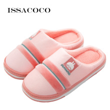 ISSACOCO Winter Slippers Women Non-slip Cotton Plush Warm Home Womens Indoor Flat Shoes Woman