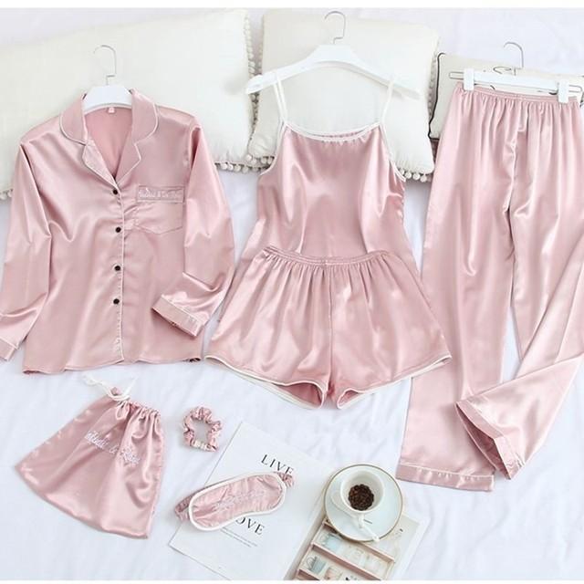 Lady 7PCS Pajamas Suit Satin Sexy Long Sleeve Pijamas Sleepwear Lounge Casual Sleep Set Loose Lapel Nightwear Kimono Robe Gown