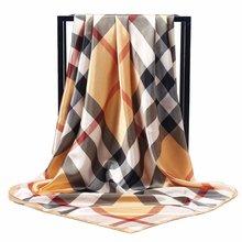 Luxus marke Seide Schals Frauen 90*90cm Platz Kopf Hijab Schal Damen chiffon Schal wrap muffler pareo Halstuch weibliche cheap WOMEN Erwachsene Polyester Scarf Druck Mode 80cm-100cm