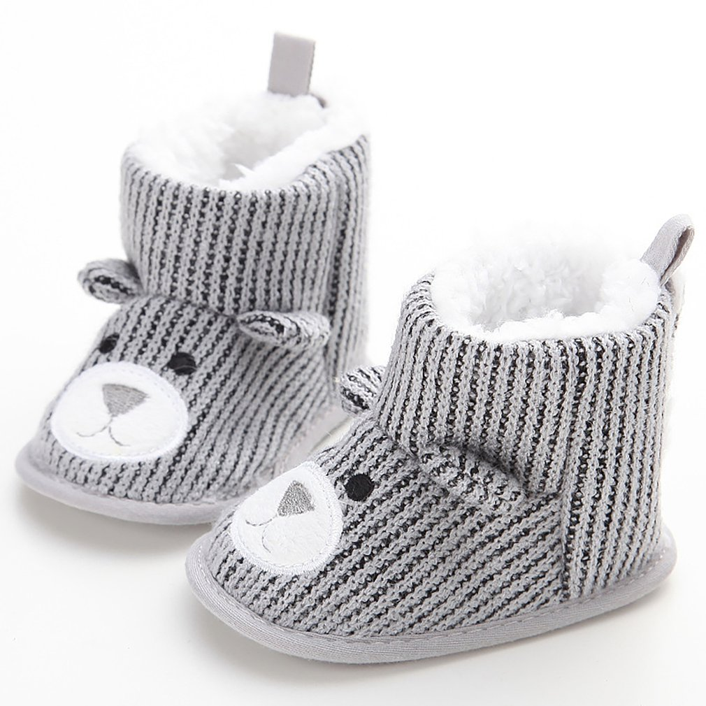 Cute Cartoon Bear Baby Shoes Anti-skid Soft Outsole Cotton Boots Thick Warm Winter Shoes Fashion Toddlers Shoes