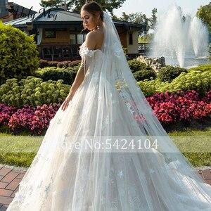 Image 5 - Новое Очаровательное свадебное платье, вырез сердечком бисер A Line 2020 Великолепные Цветы Аппликации Кружева со шлейфом принцесса свадебное платье