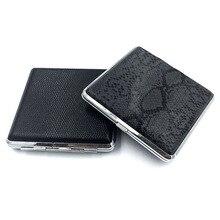 Smoke-Case Man Gift 20-Cigarettes Storage-Box Metal Portable for 1pcs PU