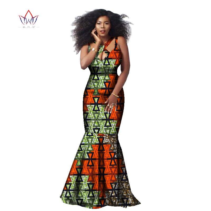 Africain Dashiki belles robes pour les femmes afrique Style imprimé robe classique Batik coton sans manches licou robe WY1889