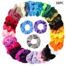 Vintage Hair Scrunchies Velvet Scrunchie Pack Women Elastic Hair Bands 21/36/41/45/50 Pcs Headwear Rubber Hair Ties Wholesale
