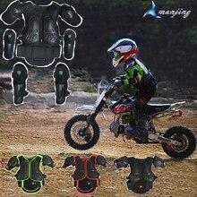 Gilet noir pour enfants de 4 à 15 ans, Support de Sport, Motocross, armure de protection du dos, genou, coude, moto