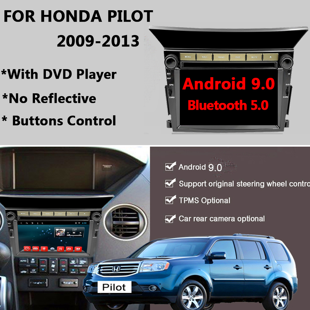 YAZH Android 9.0 Car <font><b>GPS</b></font> Navigation Radio Stereo Bluetooth <font><b>for</b></font> <font><b>Honda</b></font> <font><b>Pilot</b></font> 2009 2010 2011 2012 2013 with DVD Multimedia Player image