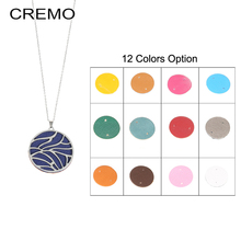 Cremo Stainless Steel Women Round Pendant Charm Necklaces Interchangeable Reversible Leather Hollow Pendant Chain Necklace