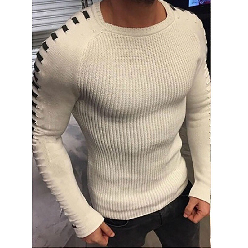 Men Casual Pullover Tops Round Neck Slim Tight Long Sleeve Autumn Winter Warm Solid Color Knitted Jumper Sweaters