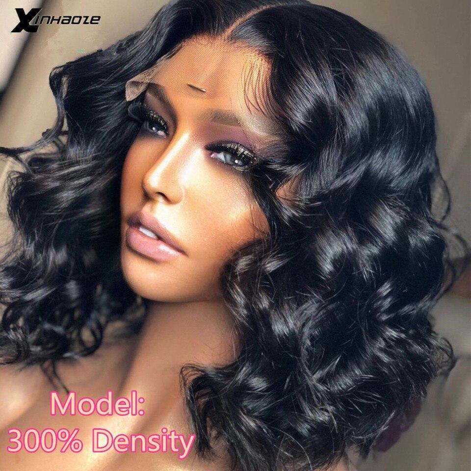 Волнистый короткий парик Боб 13x4, парики из человеческих волос на сетке спереди, предварительно выщипанные перуанские волосы 5x5 на шелковой ...