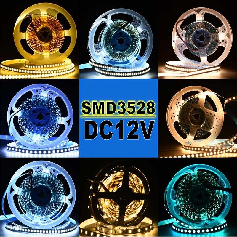 Łańcuchy led Super Bright 5M 300LEDs 3528 SMD zielony niebieski ciepły biały zestaw nie wodoodporne diody na wstążce wstążka elastyczne światła DC 12V