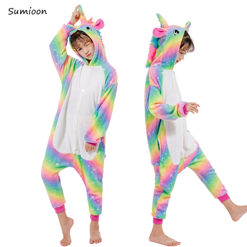 2020 Winter Animal Unicorn Kigurumi Pajamas Boys Girls Anime Panda Jumpsuit Kids Sleepwear Rainbow Unicorn Onesie For Children