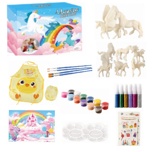 DIY Unicorn Blank Model Hand Painting Graffiti Fly Horse set 42 pieces of children's educational toys 1