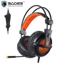 SADES A6 USB Gaming Headset Professional Over Ear Headphones 7.1 Surround Sound Wired Mic Computer Game Headset