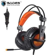 SADES A6 USB Gaming Headset Professionale Over Ear Cuffie 7.1 Surround Sound Wired Microfono Auricolare Gioco Per Computer
