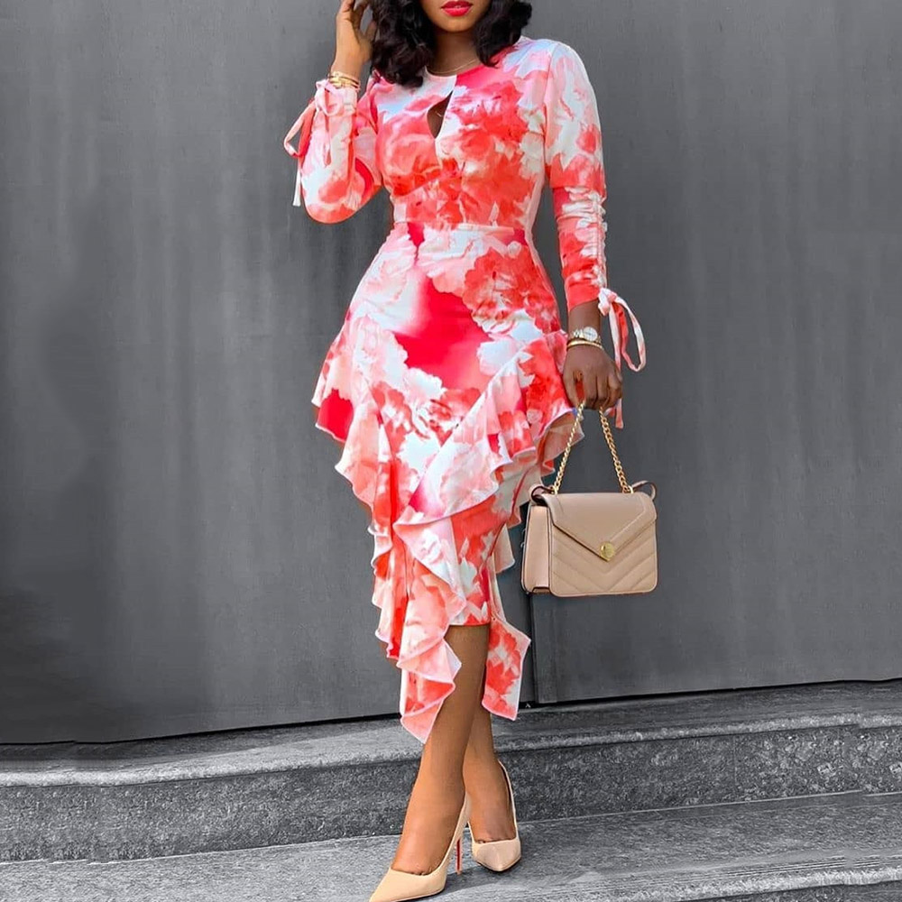 Red Floral Printed Ruffles Women Dress Elegant Long Sleeve Prom Party Dresses Office Sexy Asymmetrical Midi Vestidos XXL
