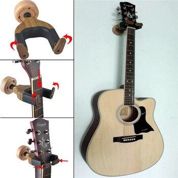 Uchwyt ścienny uchwyt na gitarę akustyczną uchwyt na gitarę Keeper automatyczna blokada kształt gitary podstawa z litego drewna na elektryczna gitara basowa