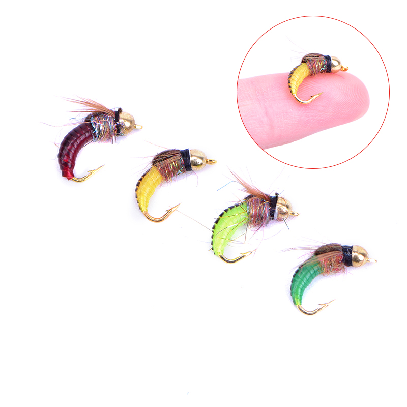 8pcs #12 Brass Bead Head Fast Siking Nymph Scud Fly Bug Worm
