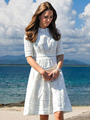 Женское ажурное платье Kate Middleton, белое кружевное платье белого цвета, модель W042
