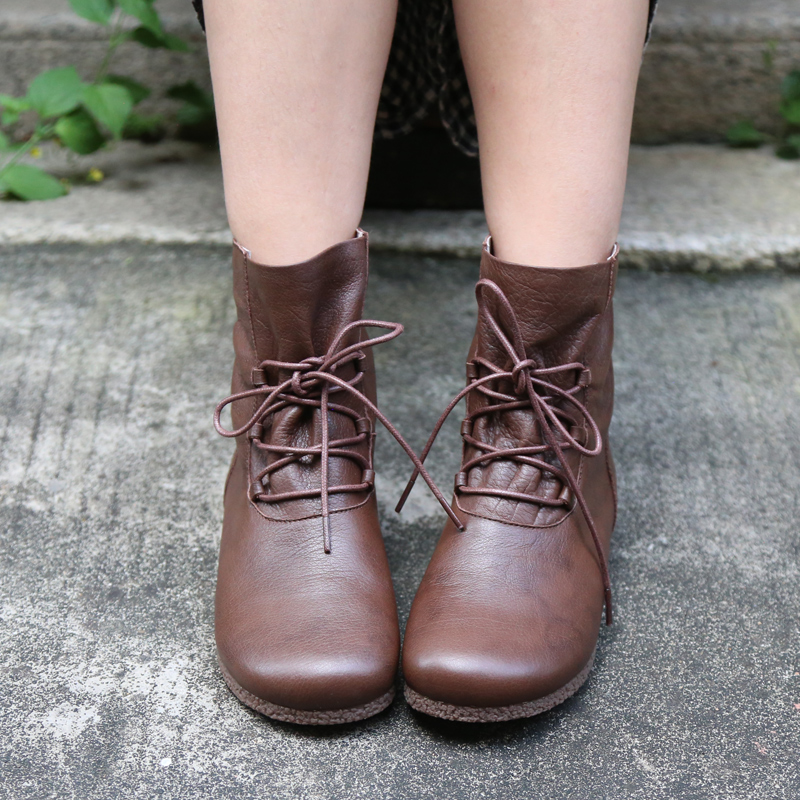 Original Autumn and Winter Comfortable Retro Genuine Leather Women Boots Flat Bottom Soft Handmade Ankle Boots Plus Size 40 42 in Ankle Boots from Shoes