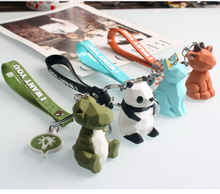 2019 Cartoon Geometry Frog Dinosaur Key chain Fashion Creative Animal Keychains Men and Women Car Bag Ring Children Toys
