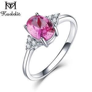 Image 2 - KE004P מוצק 925 כסף סטרלינג טבעות לנשים נוצר ורוד רובי אמרלד חן טבעת חתונת אירוסין בנד תכשיטי מתנה