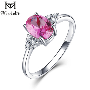 Image 2 - KE004P Solid 925 Sterling Silver Rings For Women Created Pink Ruby Emerald Gemstone Ring Wedding Engagement Band Jewelry Gift