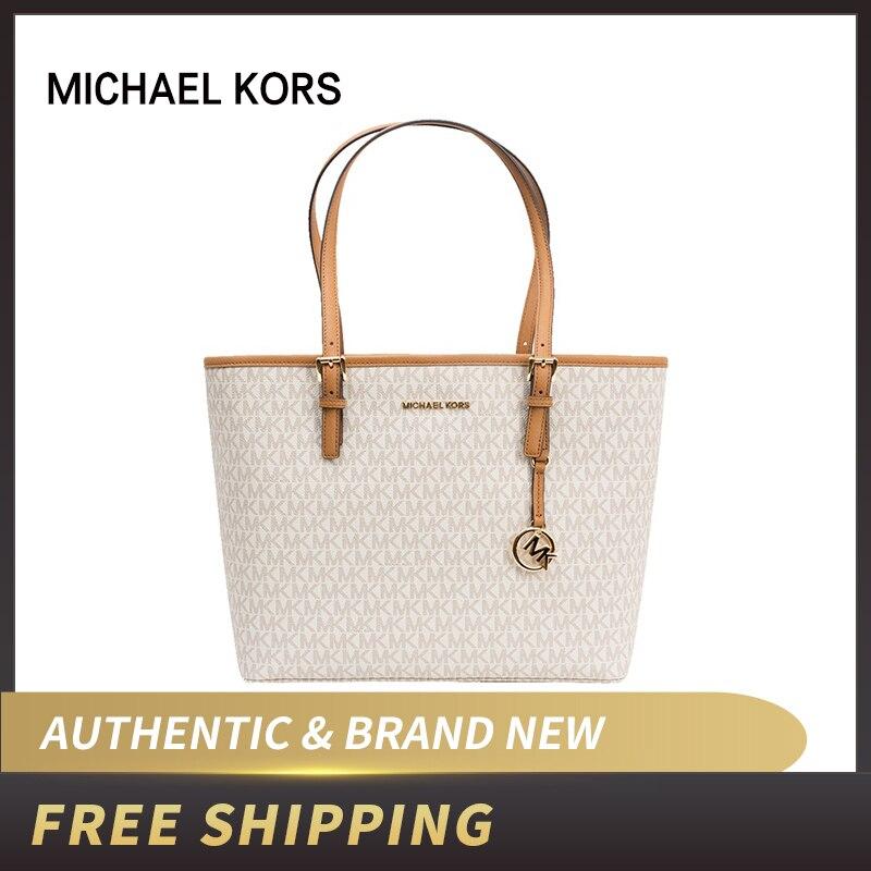 Authentic Original & Brand New MICHAEL KORS MK LOGO PVC JET SET TRAVEL MEDIUM CARRYALL TOTE BAG Women Bag 35S9GTVT0B/35T9GTVT0L