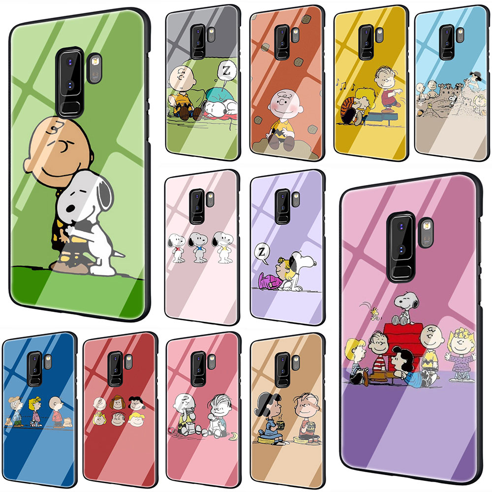 EWAU PEANUTS Pattern Tempered Glass Phone Cover Case For Galaxy S7 edge S8 9 10 Plus Note 8 9 10 A10 20 30 <font><b>40</b></font> 50 <font><b>60</b></font> 70 image