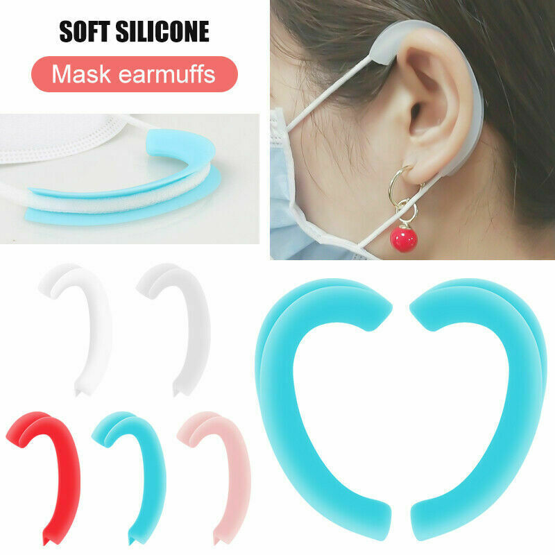 2pcs Reusable Silicone Earcaps Ear Protector Caps Ear Loop Cover Ears Retainers For Mask Extension Buckle Hooks