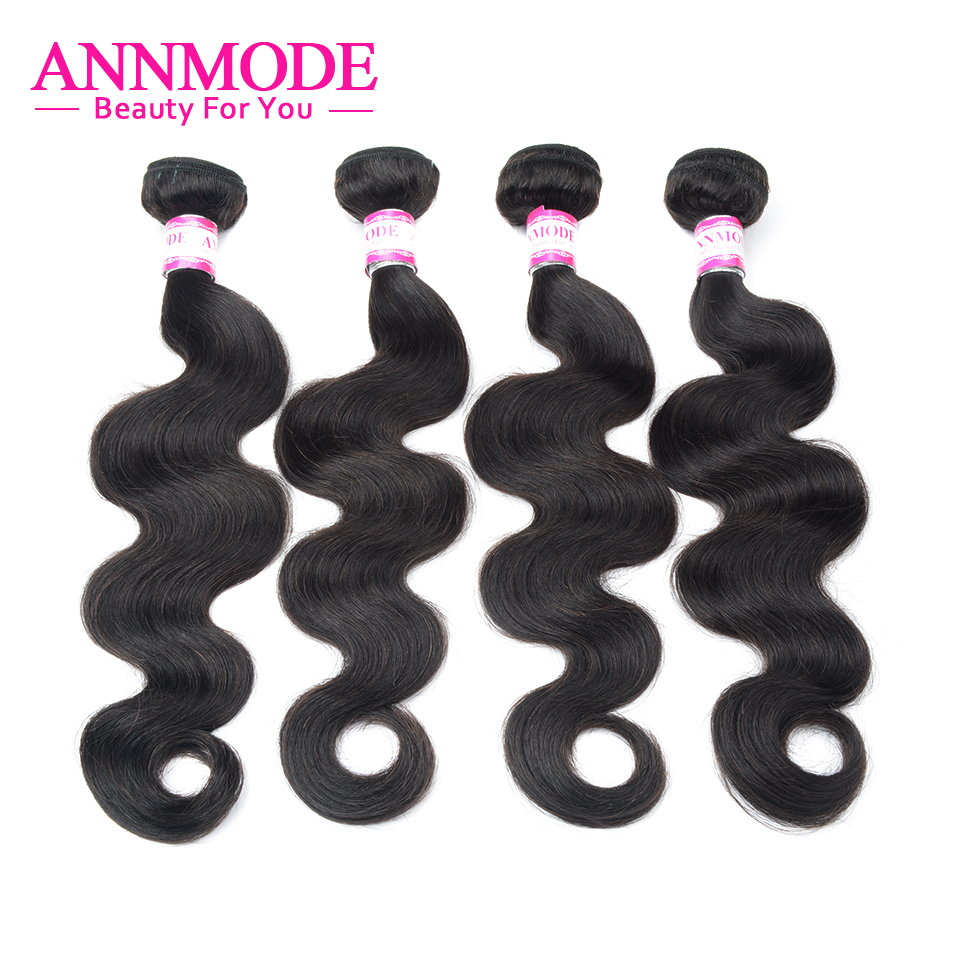 Annmode Non-Remy Hair 3/4 Bundles Peruvian Body Wave Hair Natural Color  Human Hair Extensions  Free Shipping