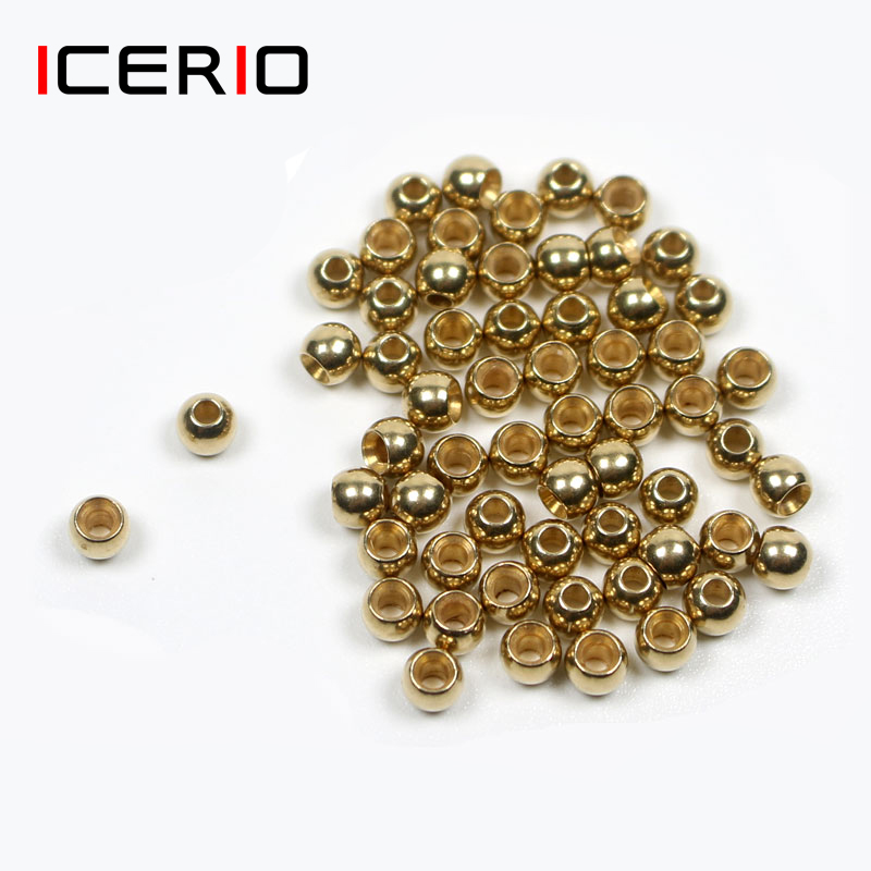 ICERIO 100/500/1000PCS Fly Tying Brass Beads Nymph Streamer Bugs Fly Hook Tying Materials Accessories  2.4mm 2.8mm 3.3mm 3.8mm|Fishing Lures| |  - title=