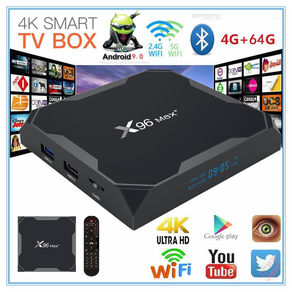 X96 Max+ Smart TV BOX Android 9.0 Amlogic S905X3 Quad Core 4GB 64GB 2.4G&5GHz Wifi BT 1000M 8K IPTV Set Top Box PK HK1 PLUS H96