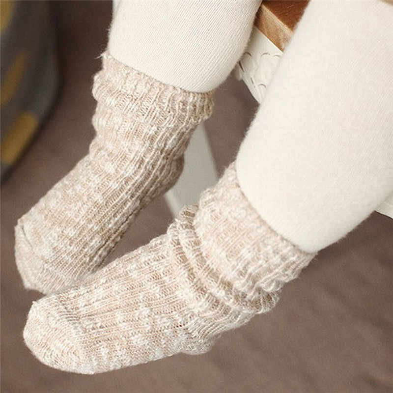 Fashion Cute Unisex Winter Warm Baby Socks Toddler Kids Anti-slip Thermal Woolen Ankle Short Tube Socks For Girls Boy