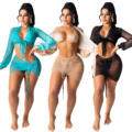 Пляжная накидка Oluolin для женщин, комплект из 2 предметов, футболка и мини-юбка, однотонный драпированный, Летний Пляжный купальный костюм