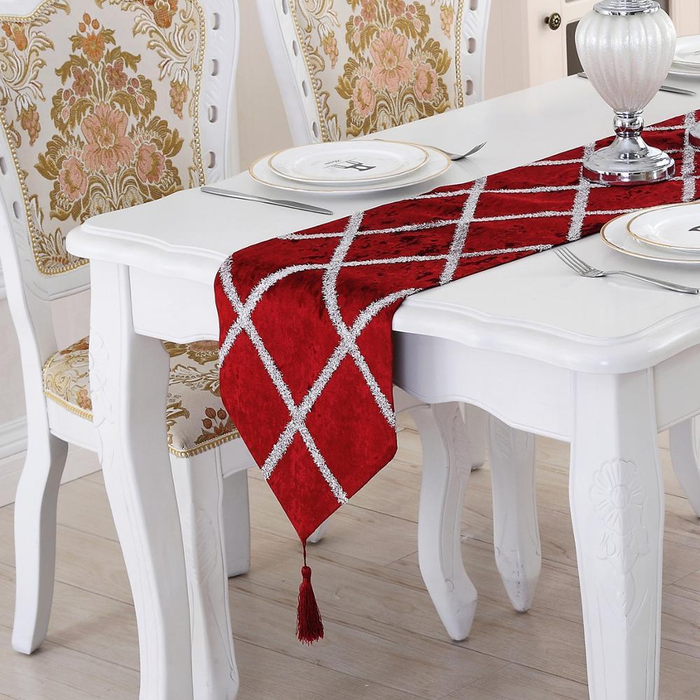 European Velvet Table Runner Fashion Diamond Lattice Velvet Table Runners Wedding Shining Plaid Table Cloth Covers