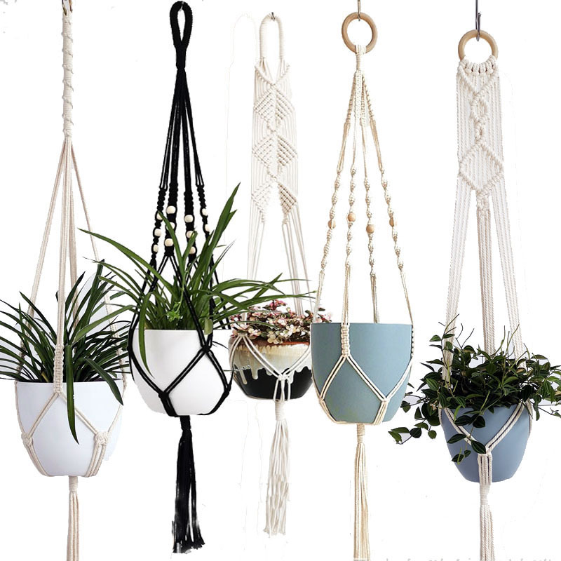 Handmade Macrame Plant Hanger Flower /pot Hanger Pot Tray For Wall Decoration Countyard /garden Pot Tray For Plant